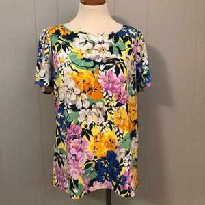 NWT Ann Taylor Bold Bright Floral Pattern T-Shirt
